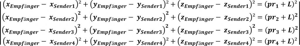 Gleichungssystem für den 3 dimensionalen Raum