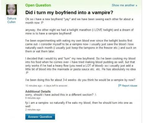Did I turn my boyfriend into a vampire?